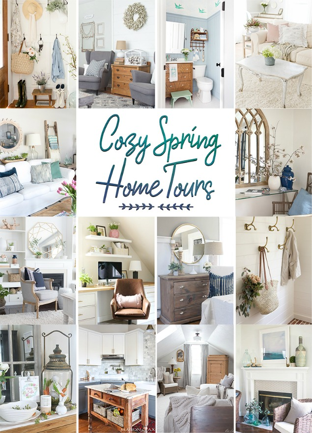 Collection of beautiful spring home tours. Gorgeous spring decorating ideas and tons of spring and Easter inspiration.