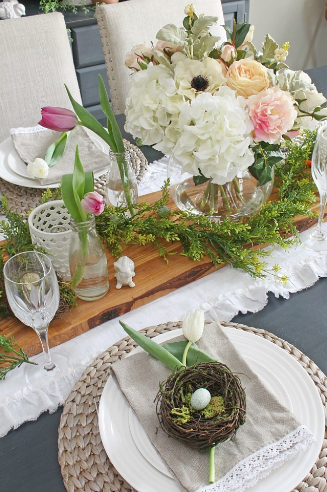Beautiful spring centerpiece using faux flowers.