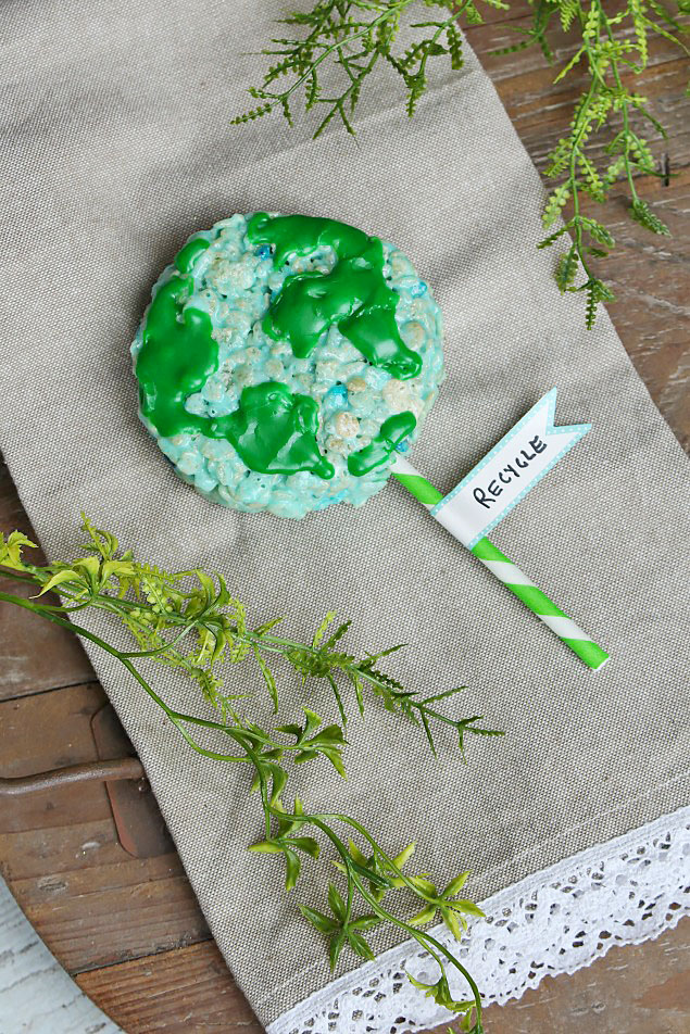 Earth day recipe - rice krispie treats pop shaped as the earth.