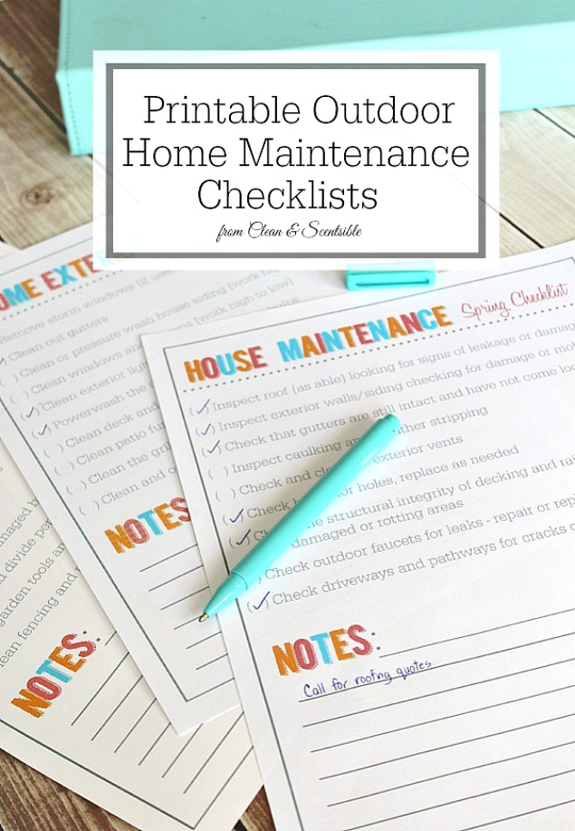 Free printable outdoor home maintenance checklists. Perfect to get your home ready for spring and summer!
