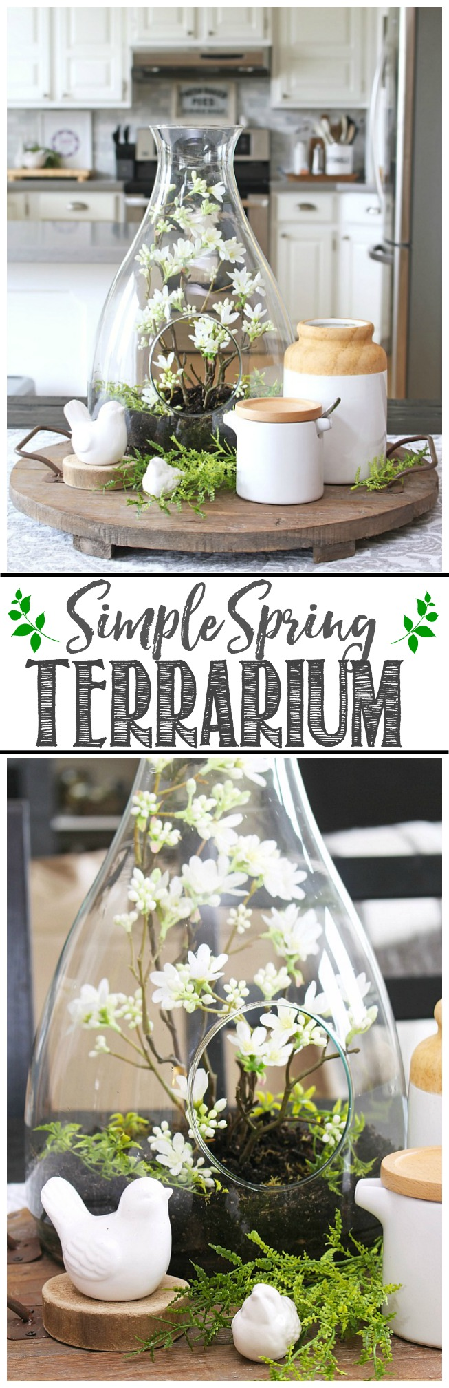DIY spring terrarium for a spring centerpiece.