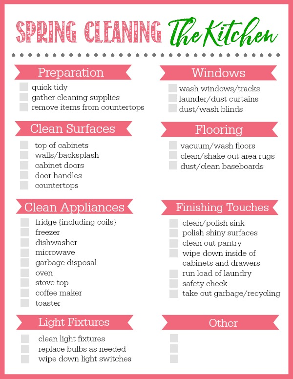 Spring Cleaning Checklists for the whole house.