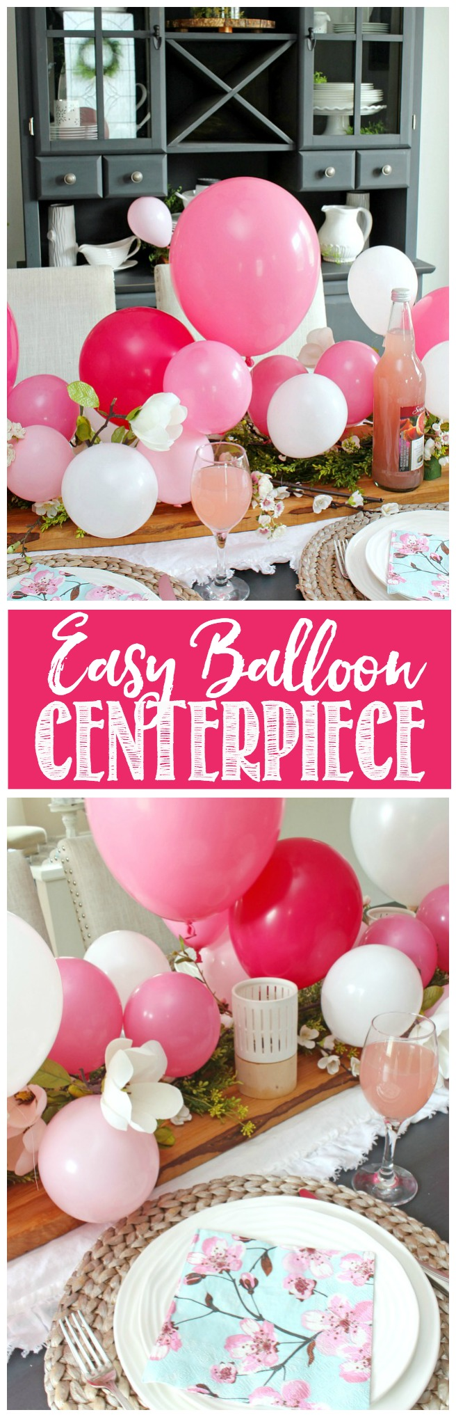 Pretty balloon centepiece using pink and white balloons and faux greenery and flowers.