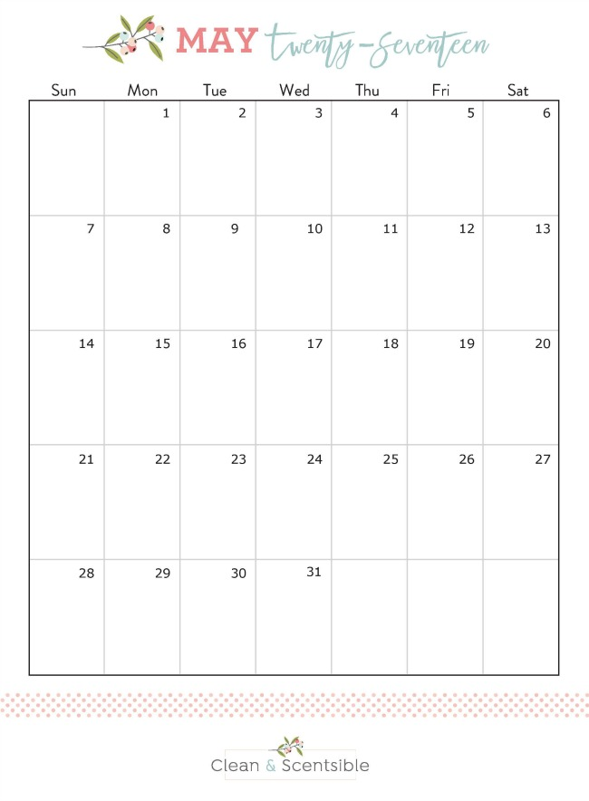 How to Get Your Outdoor Spaces Ready for Spring. Free printable May calendar for The Household Organization Diet.