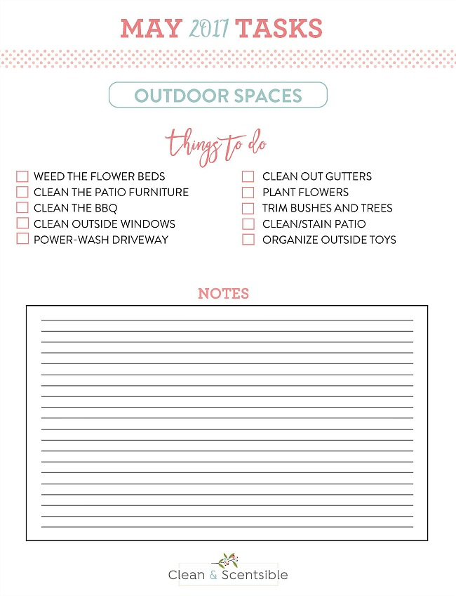 How to Get Your Yard Ready for Spring. Free printable May notes for The Household Organization Diet.