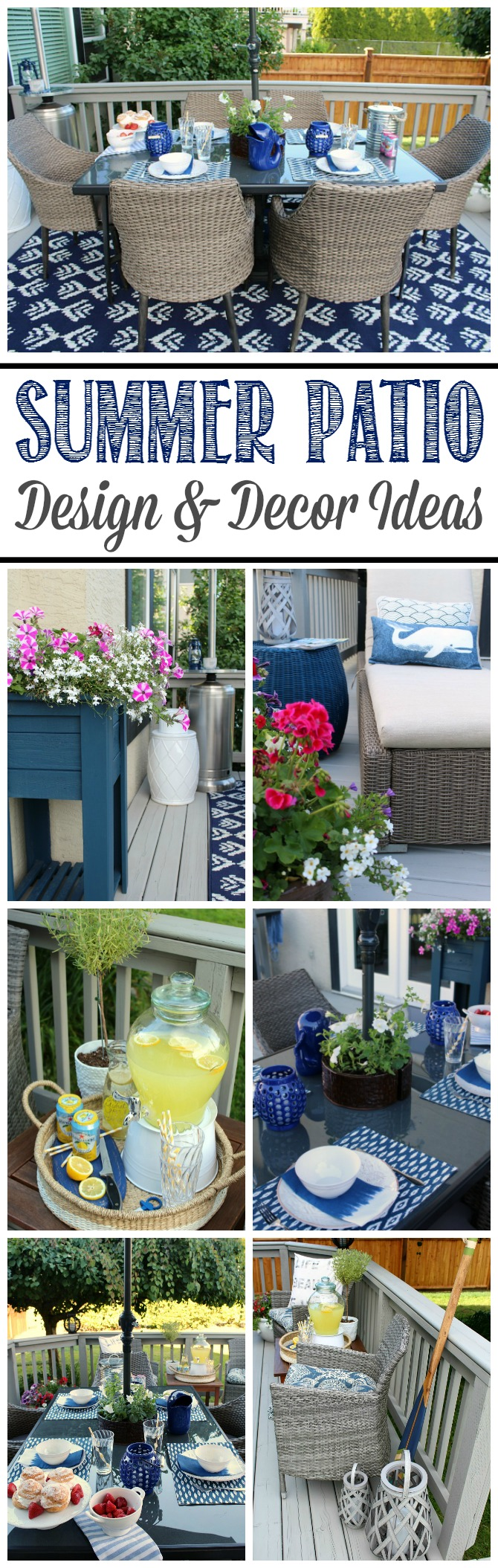 Beautiful summer patio ideas including patio furniture, decor items, and planted flower designs.
