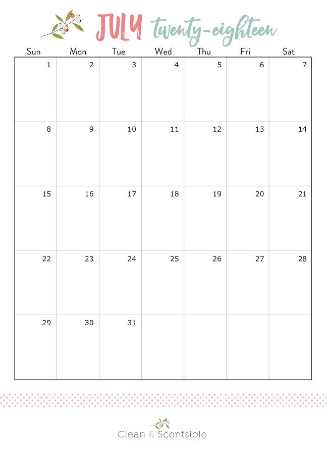 Free printable July calendar.