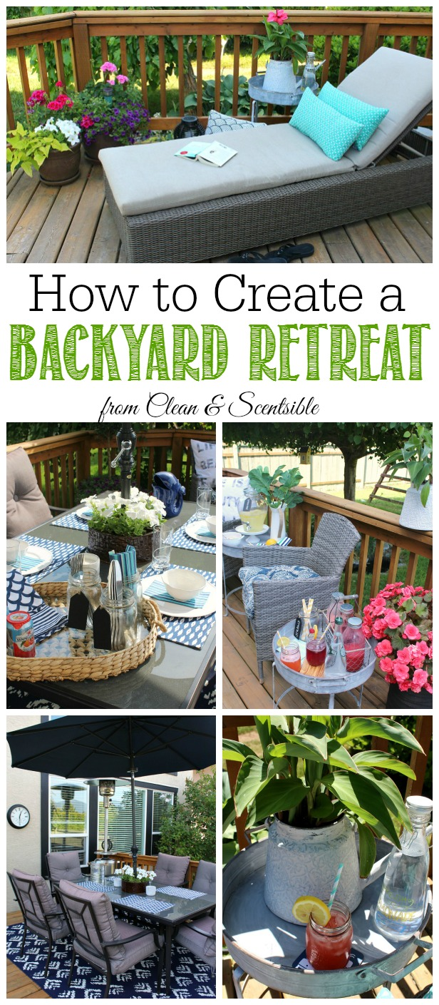 TIps and ideas to create your own backyard retreat. Perfect for those summer patios!