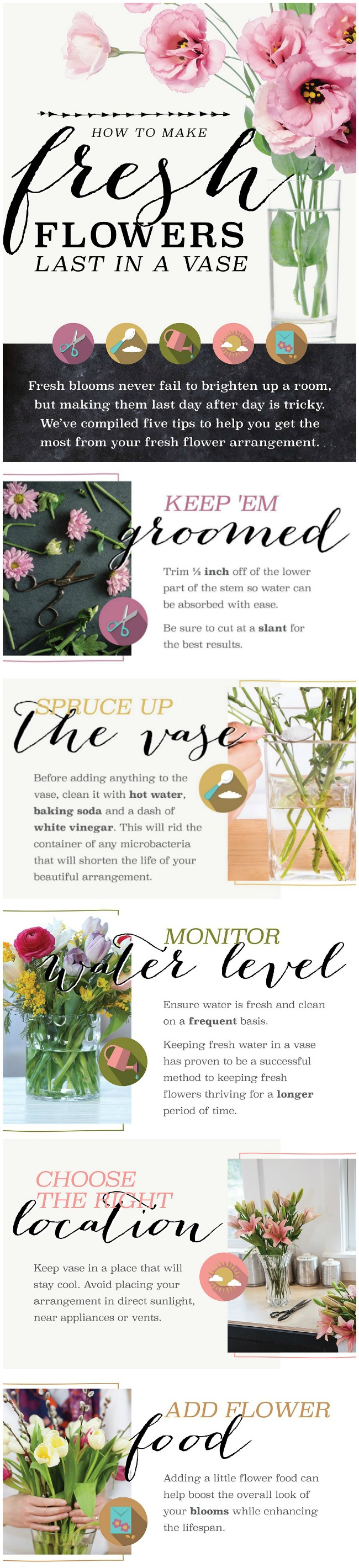 How to make cut flowers last longer clean and scentsible infographic on how to make fresh flowers last longer keep your fresh flowers looking their izmirmasajfo