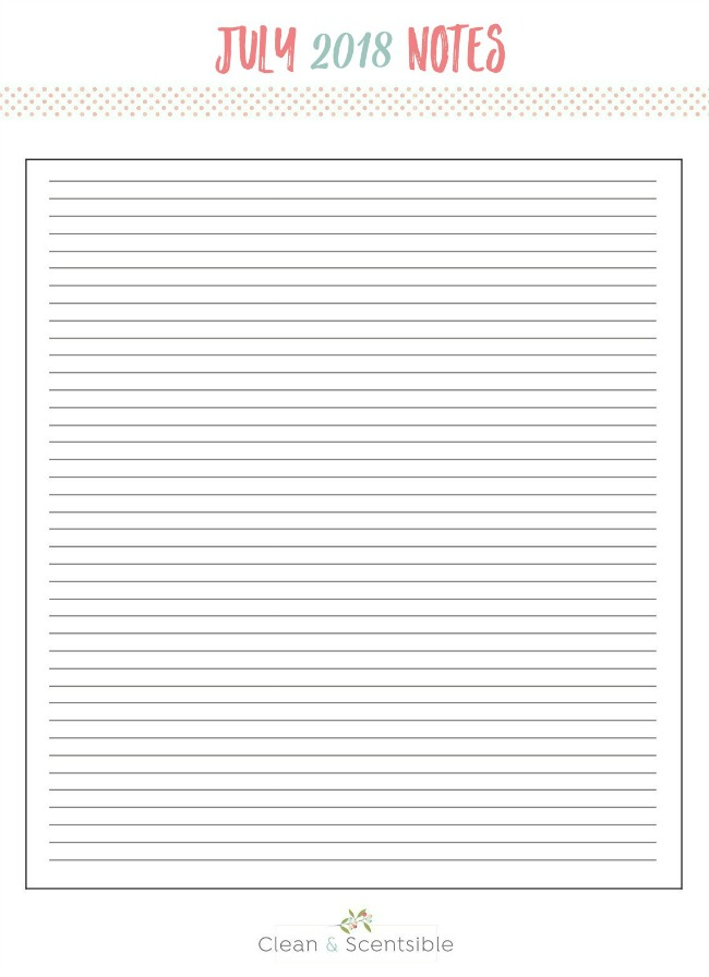 Free printable July notes sheet for The Household Organization Diet.