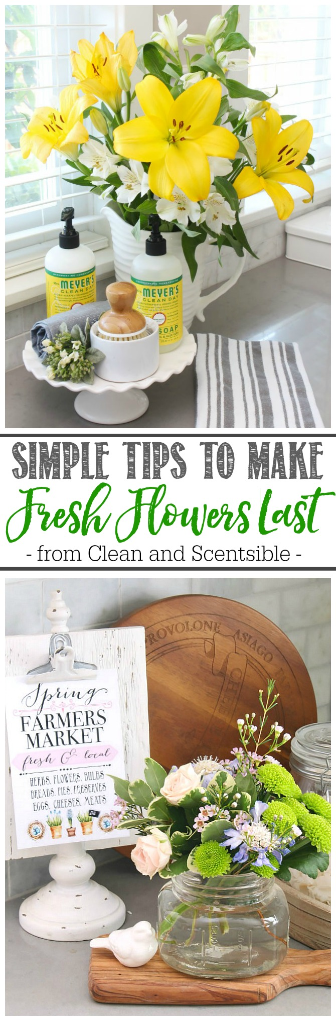 How to make fresh flowers last longer. Pretty flower arrangements with various flowers and greenery.