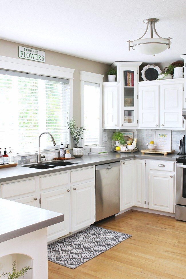 White farmhouse style kitchen.