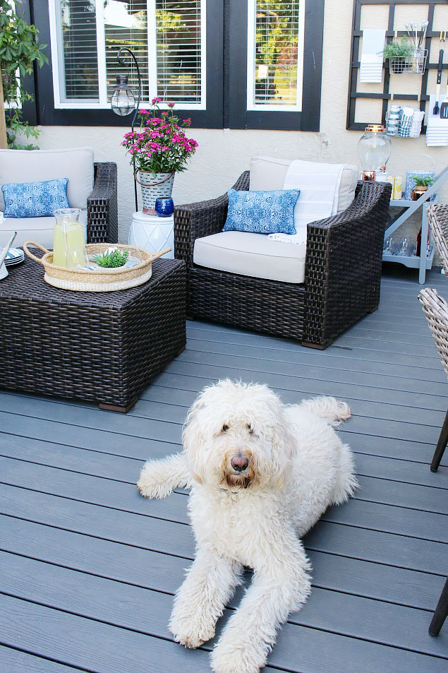 Summer Patio with resin wicker patio furniture and Trex decking.