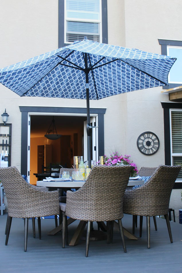 How to clean patio furntiure. Summer patio with round table and blue patio umbrella.