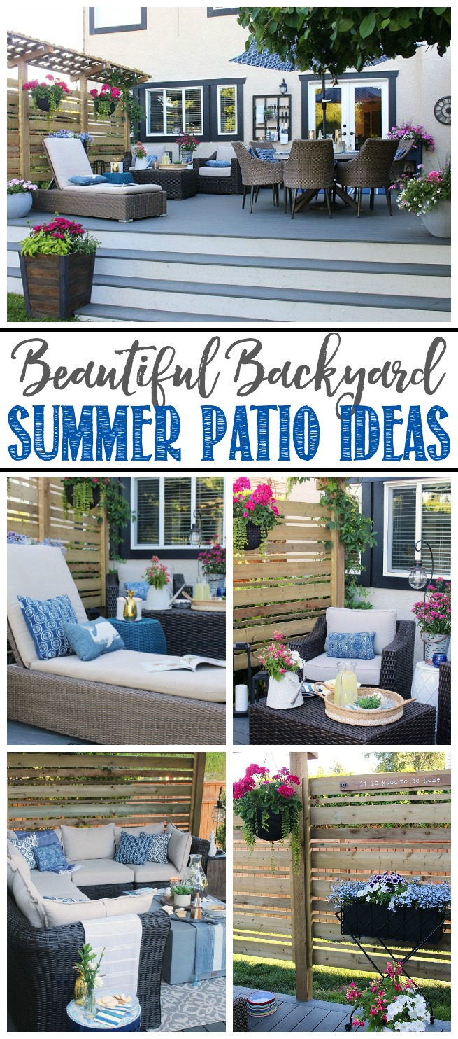 Beautiful ideas for your backyard summer patio! Patio furniture and design ideas, composite decking, privacy screen ideas and more! #spon