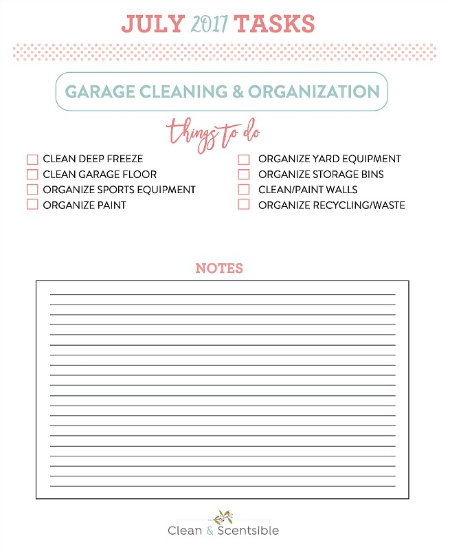The July Household Organization Diet. Awesome ideas and tips for garage organization with free printables.