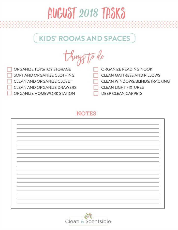 Kids' Bedroom Organization. Free printable to help you get the kids bedrooms cleaned and organized.