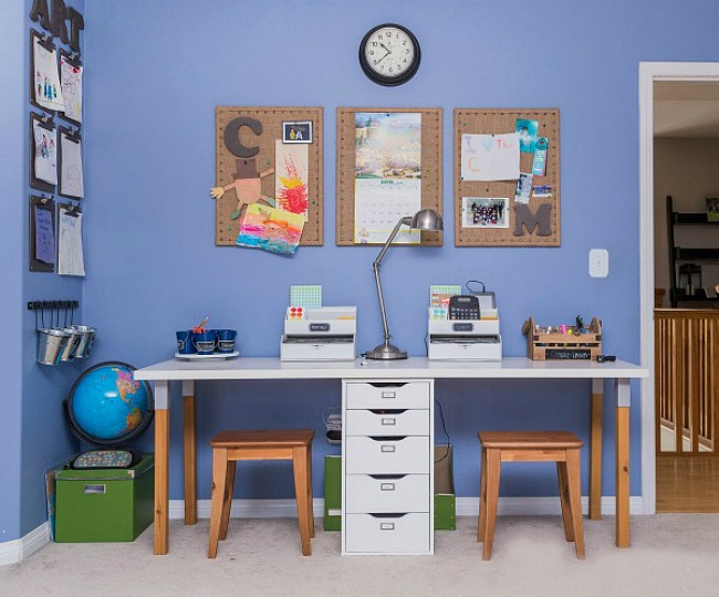 Kids' Bedroom Organization Ideas. Love this simple homework station. Ikea desk.