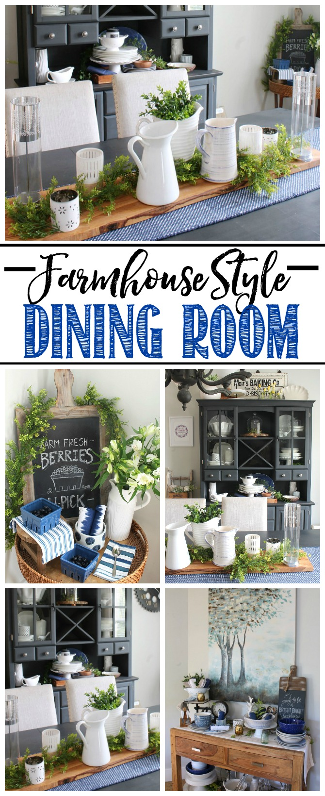 Farmhouse style dining room with blues, whites, and greens.  Beautiful summer decor!