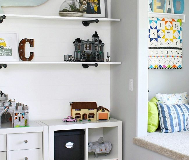 Kids Bedroom Organization. Reading nook and Ikea storage unit to keep toys organized.