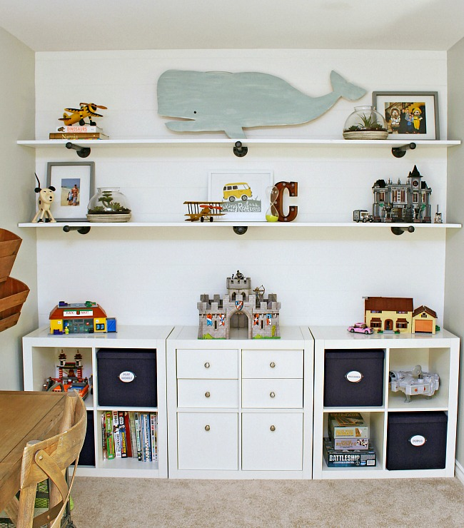 Kids bedroom organization. Ikea storage unit and DIY shelving to keep toys neat and organized.