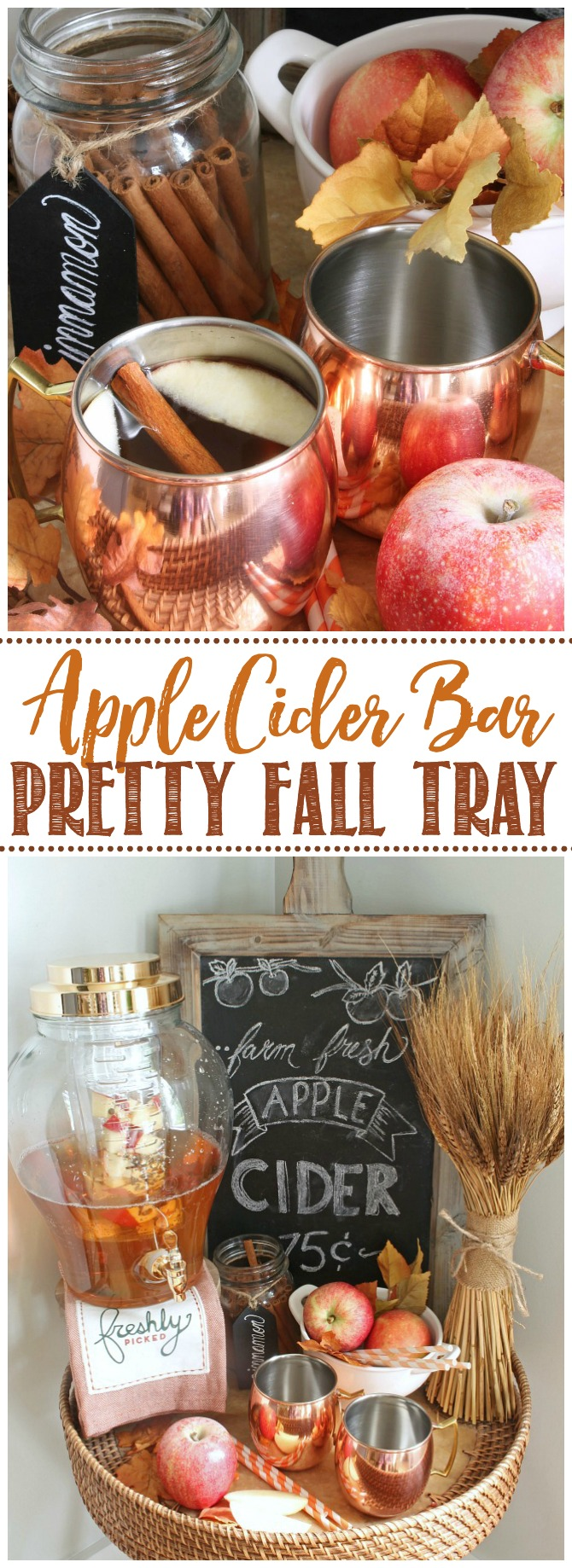 Pretty apple cider bar for fall decorated with copper and neutrals.