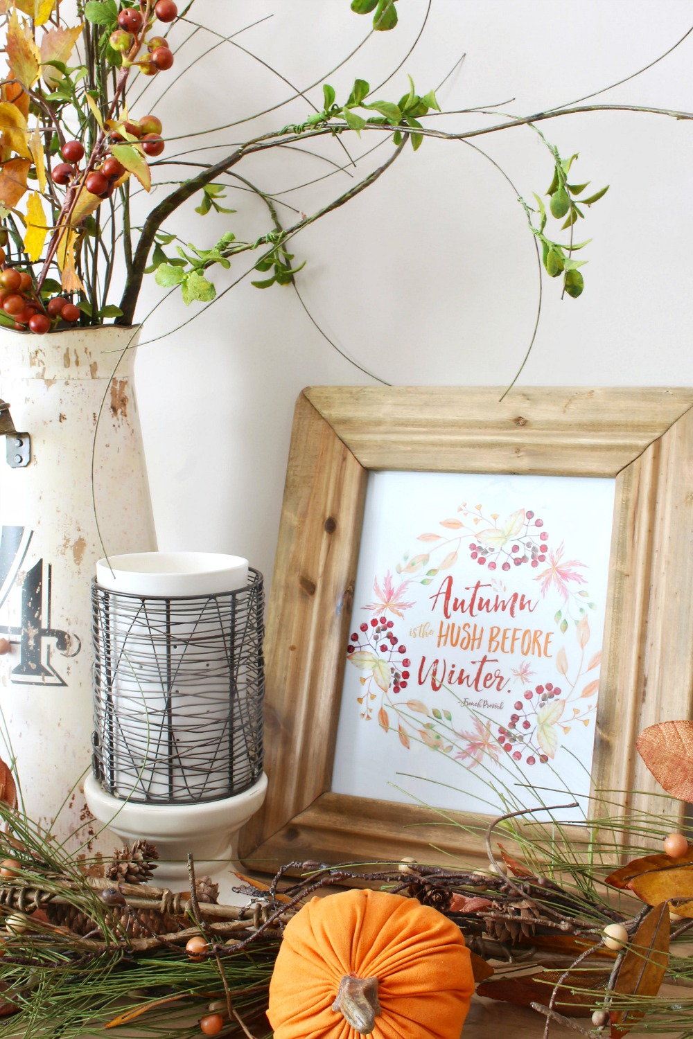 Beautiful collection of free autumn printables. Autumn is the hush before the winter in two designs.