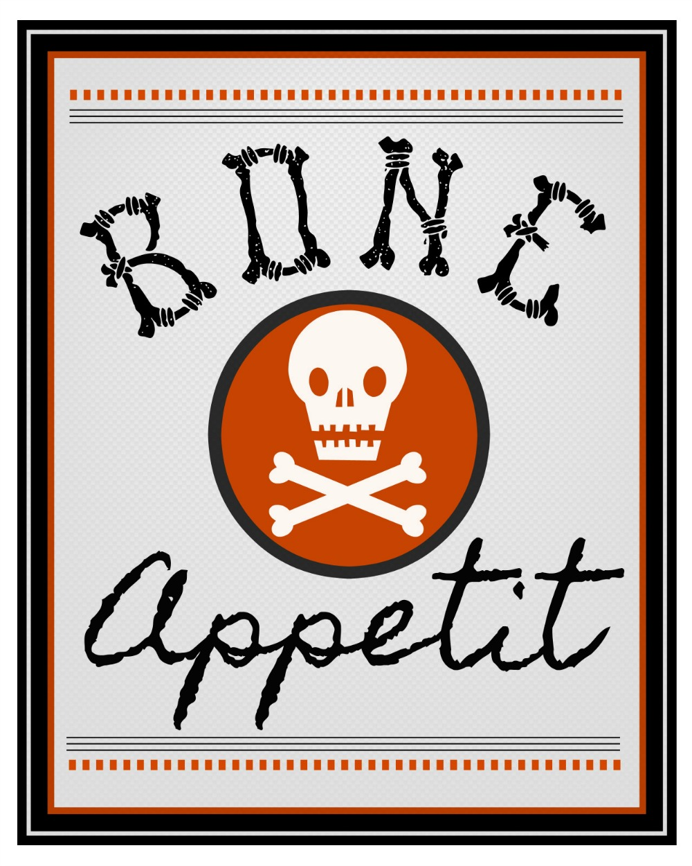 Bone Appetit Halloween Printables. Free Halloween printables including treat tags, labels, and wall art. Perfect to decorate you kitchen or dining room for Halloween!