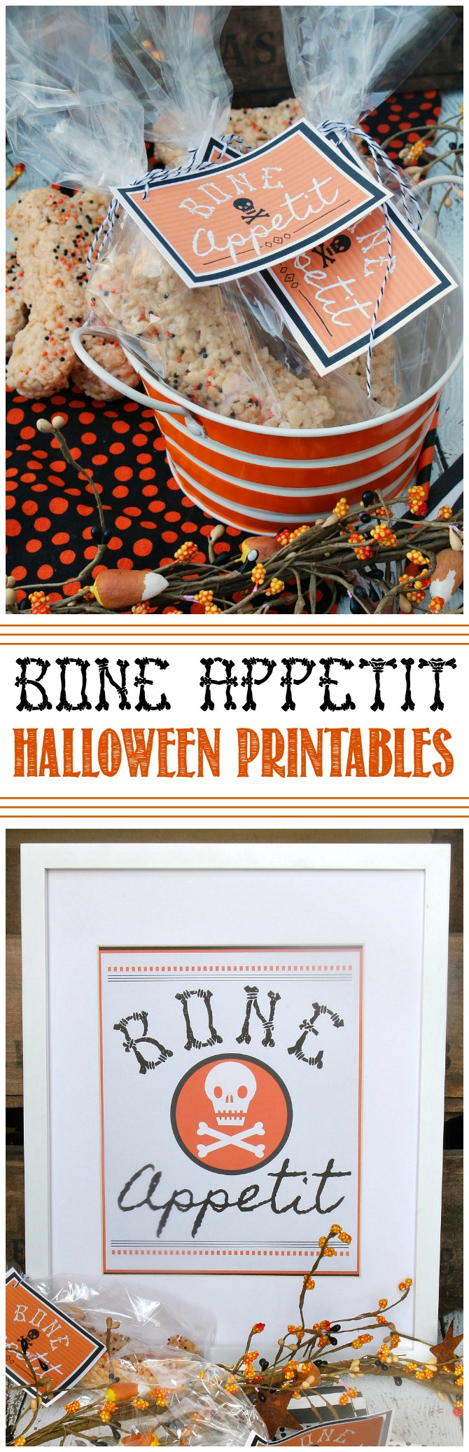 Bone Appetit. Free Halloween printables including treat tags, labels, and wall art. Perfect to decorate you kitchen or dining room for Halloween!
