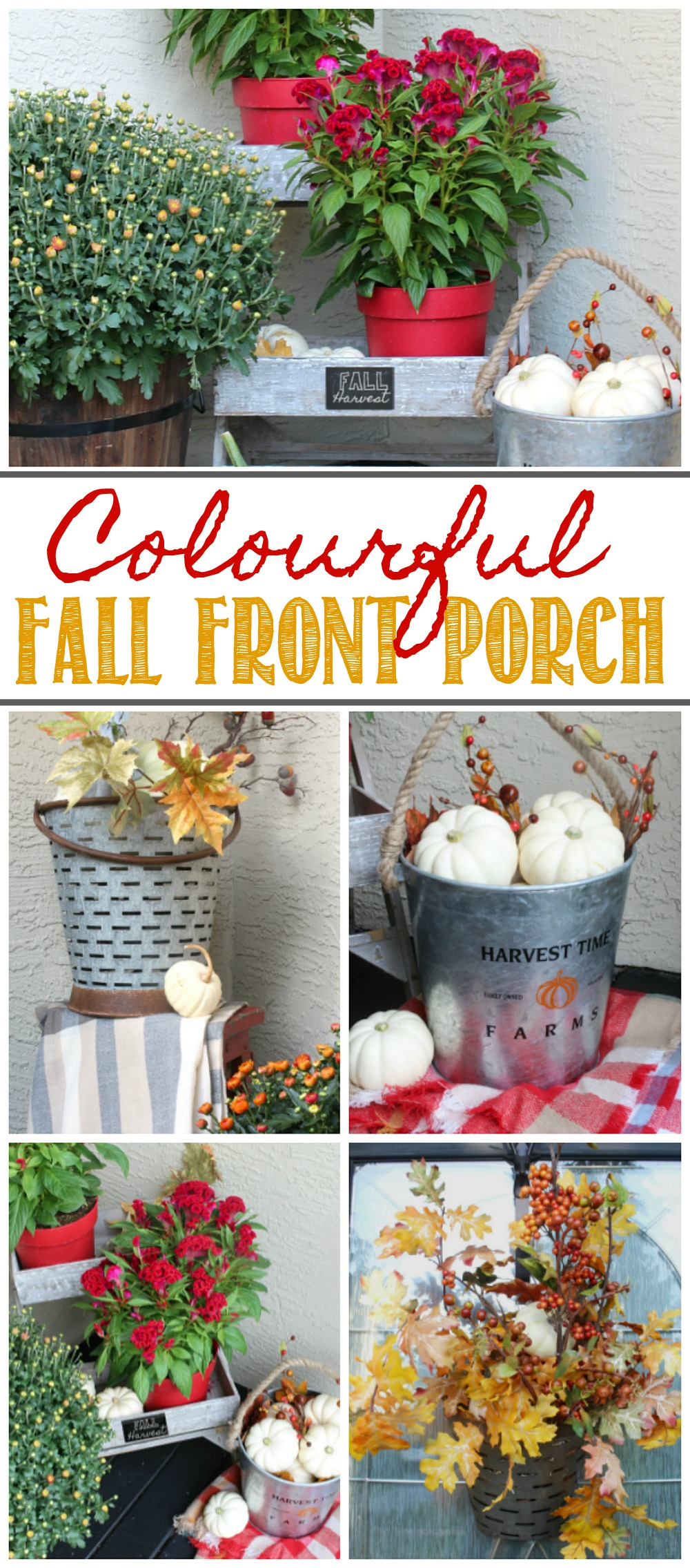 Colorful fall porch decorating ideas.