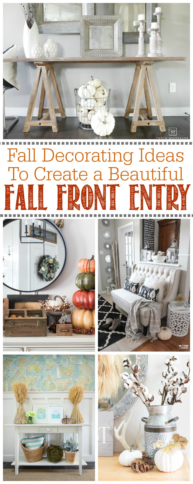 Beautiful collection of fall decorating ideas for the front entry. Easy ideas to create a cozy and welcoming fall front entry.
