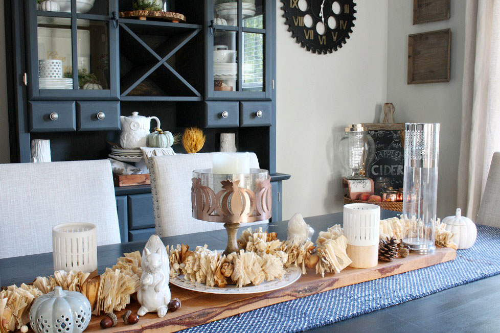 Farmhouse Style Dining Room Decorated For Fall Blue Table Runner With Neutral Centerpiece