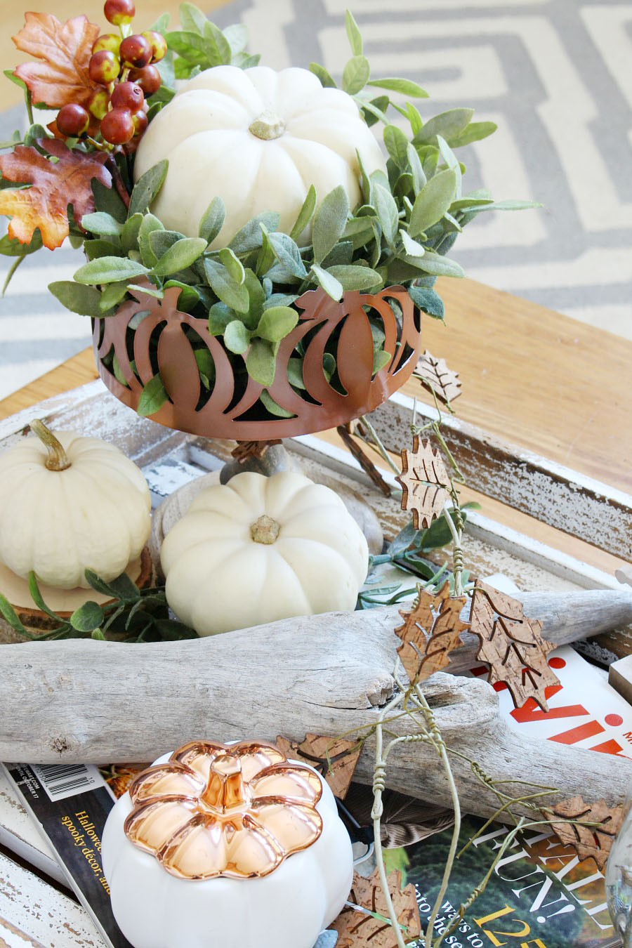 Family Room Fall Decorating Ideas. Easy fall decorations in traditional autumn colors with pops of blue.