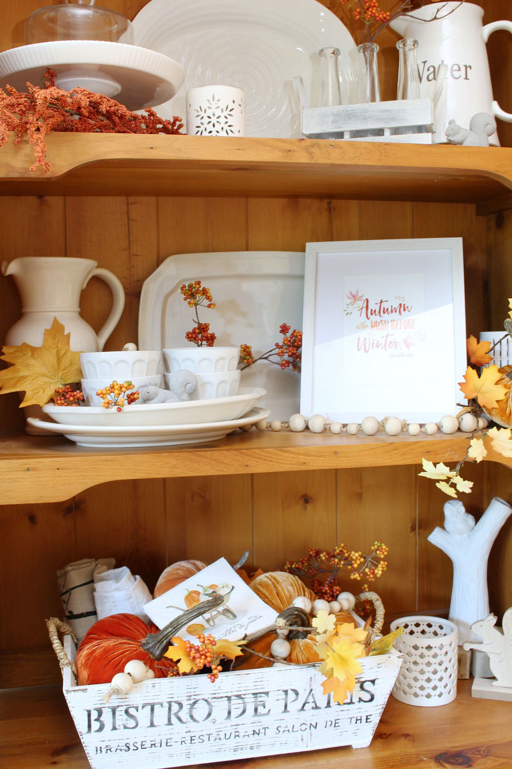 Fall home decor ideas. Love this fall hutch with traditional fall colors.