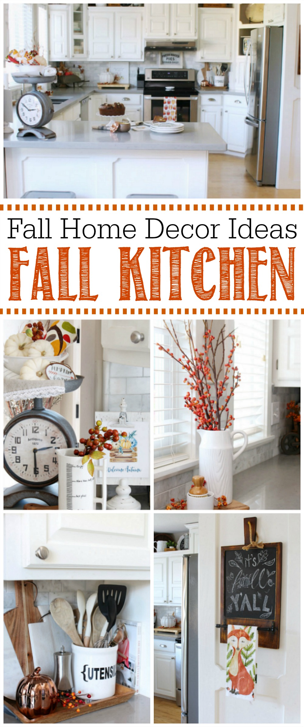 Kitchen fall decor ideas. Join in this fall home tour for tons of fall decor inspiration!