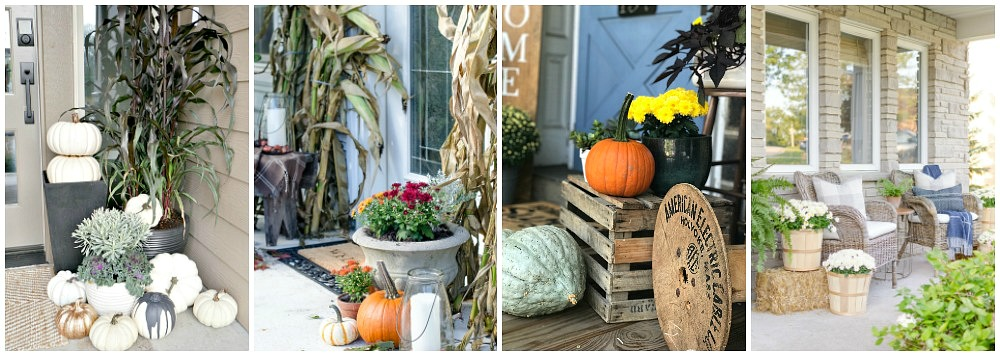Beautiful collection of fall front porch decorating ideas.