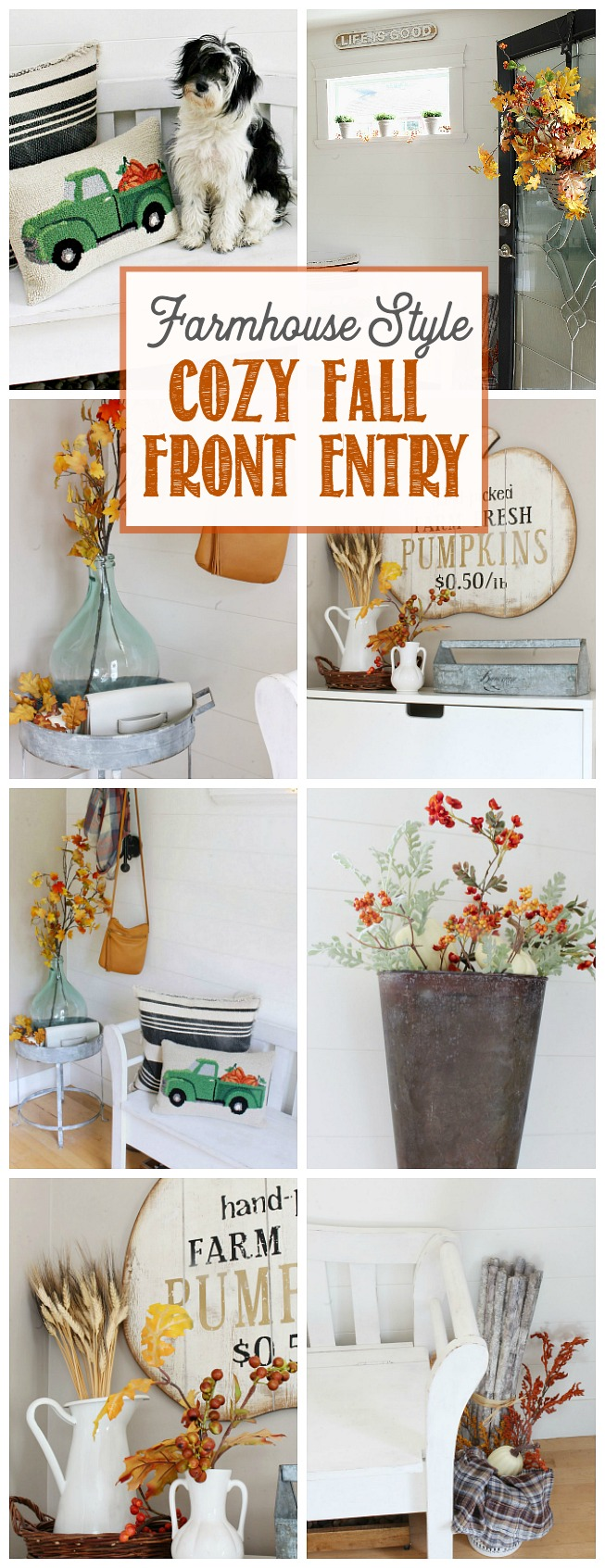 Pretty Farmhouse Style Fall Front Entry. Simple fall decorating tips to create a cozy and welcoming fall front entry.