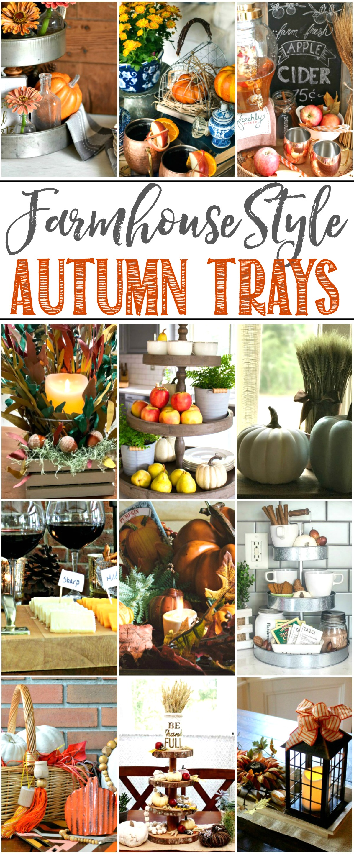 Beautiful collection of farmhouse fall tray ideas.