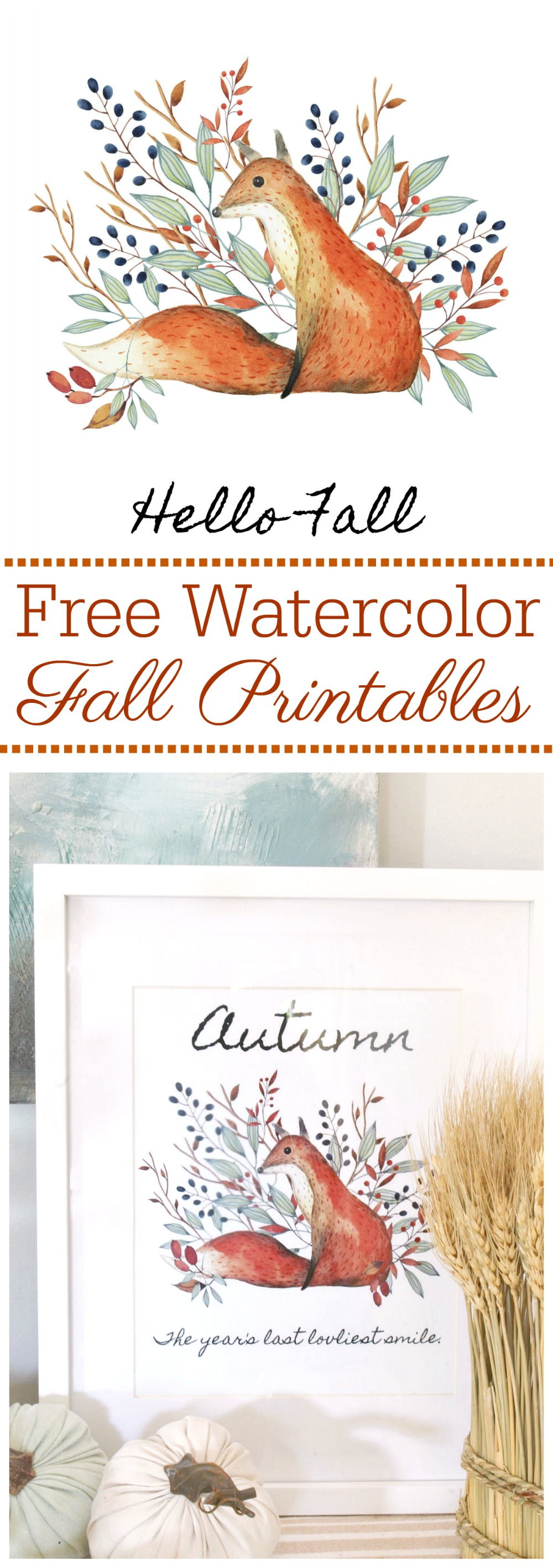 Beautiful watercolor free fall printables. Rustic farmhouse style.