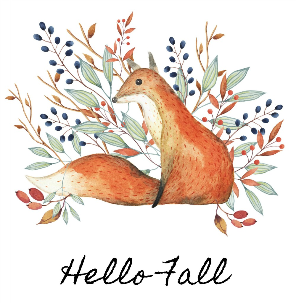 Cute free fall printable! Watercolor fox with blue, green, and orange.