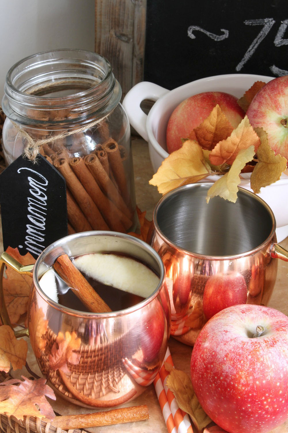 Spiced apple cider recipe with slices of fresh apple and cinnamon sticks in copper mugs.