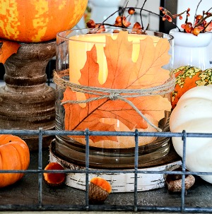 Quick and easy fall decorations in 10 minutes! Love this simple fall candle holder.