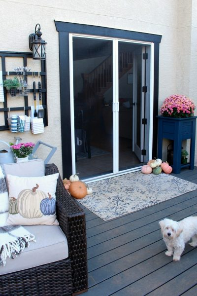 Fall Patio Design with screen doors. #fall #falldecorations #ad