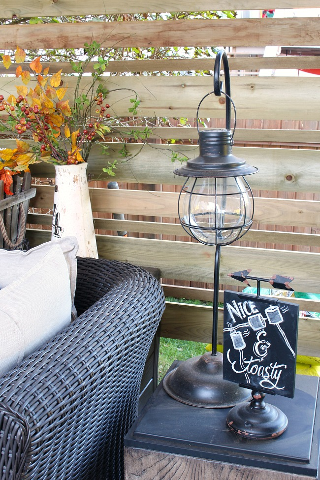Fall back patio with cute chalkbaord art.