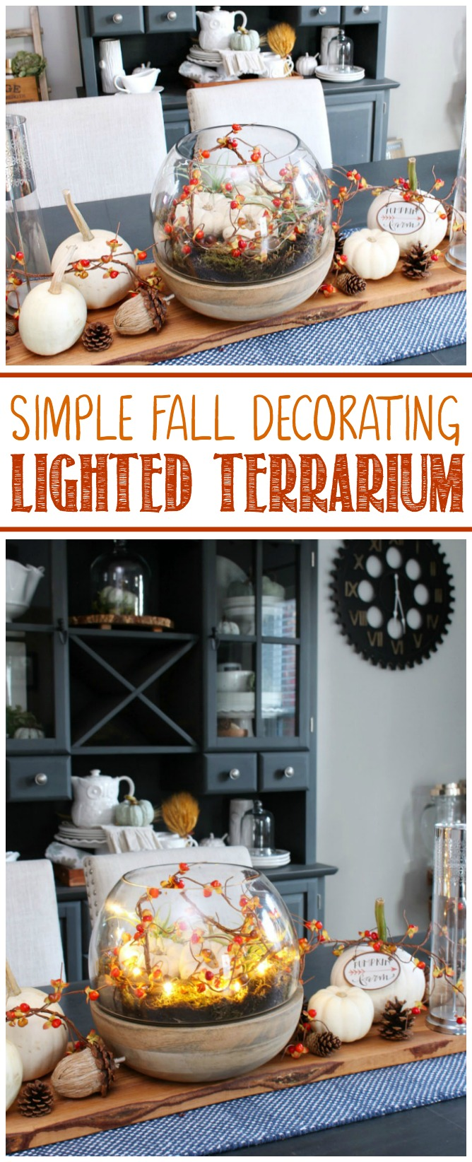 Give your fall table a pretty glow with this lighted fall terrarium. All you need is 10 minutes to create this beautiful look!