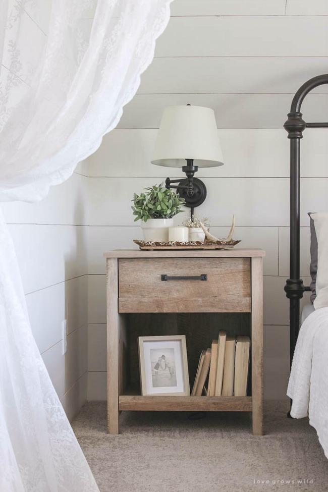 Create a simple and organized bedside table for a calming night routine.
