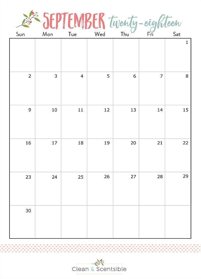 September 2018 free printable calendar.
