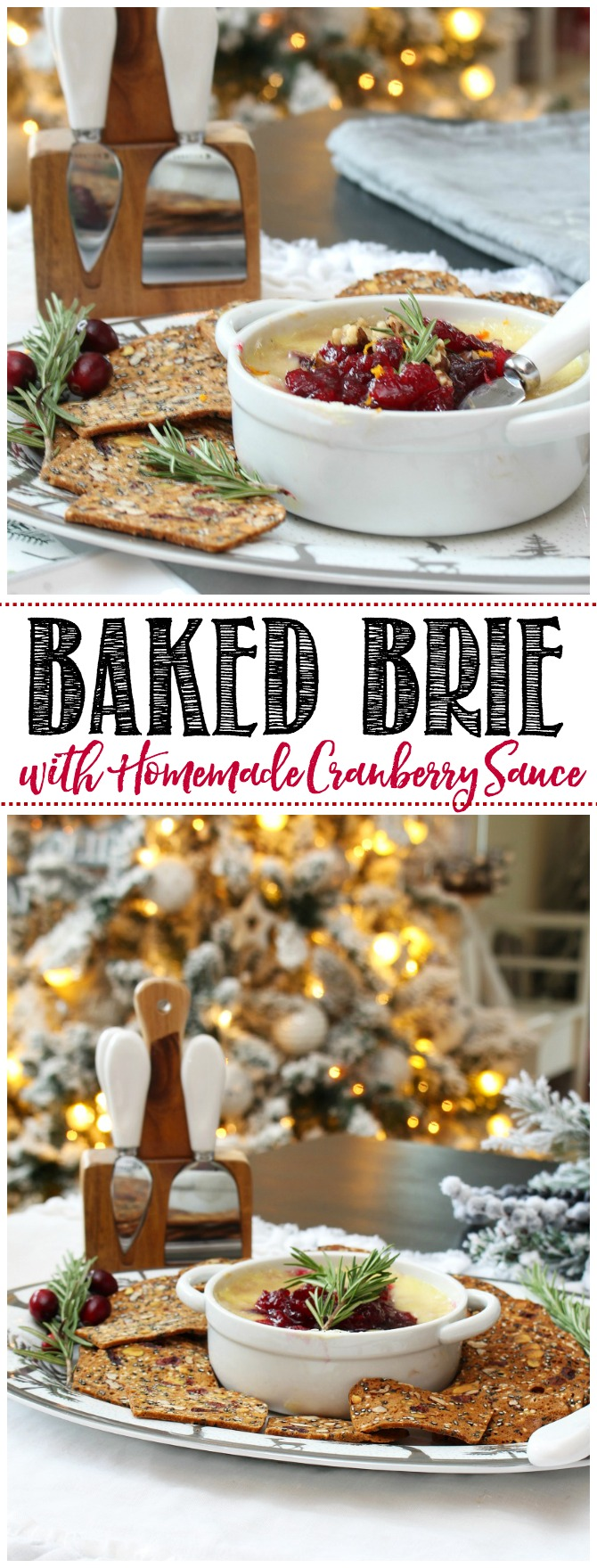 Delicious baked brie with homemade cranberry sauce.  This is the perfect holiday appetizer for any party or gathering!