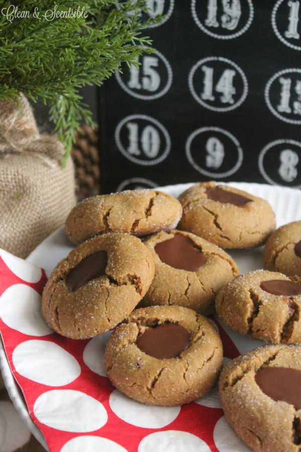 Delicious gingerbread chocolate thumbprint cookies.  One of my favorite Christmas cookies!