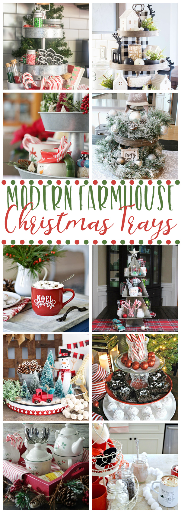 Beautiful collection of modern farmhouse Christmas trays. Easy Christmas decorating ideas that anyone can do! #Christmasdecoratingideas #farmhousestyle